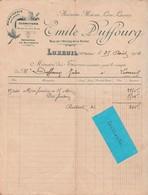 Facture 1904 / Emile DUFFOURG / Menuiserie / Rue Etang De La Poche / 70 Luxeuil - France