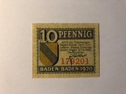 Allemagne Notgeld Baden Baden 10 Pfennig - Collections