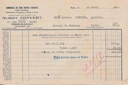 Facture 1946 / Albert CONVERT / Commerce Bois Toutes Essences / Scierie / 21 Dijon - France