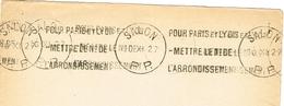 France. Flamme. Port Payé. Pour Paris Et Lyon, Mettre Le Numéro D'arondissement. 1927 - Marcophilie (Lettres)