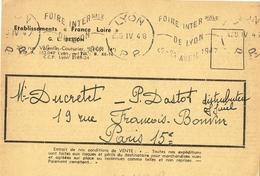 France. Flamme. Port Payé. Foire Internationale De Lypn. 1948 - Marcophilie (Lettres)