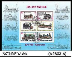 KOREA - 1983 RAILWAY LOCOMOTIVE / TRAINS - MINIATURE SHEET - CTO - Corée Du Nord