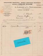 Facture 1933 / Lalloz & Menasseyre / Scierie Menuiserie Mobilier Scolaire / 70 Luxeuil - France