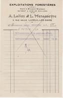 Facture 1922 / Lalloz & Menasseyre / Scierie Menuiserie Mobilier Scolaire / 70 Luxeuil - France