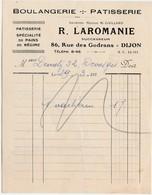 Petite Facture 1930 / LAROMANIE / Boulangerie Pains De Régime / 86 Rue Des Godrans / 21 Dijon - France