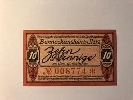 Allemagne Notgeld Benneckenstein 10 Pfennig - Collections