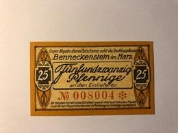 Allemagne Notgeld Benneckenstein 25 Pfennig - Collections