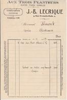 """Petite Facture 1929 /J B LECRIQUE / """"Aux Trois Planteurs"""" / Café Thé Vanille / 21 Dijon / Pour épicerie à Eteveaux - France"""