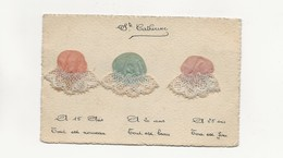 CARTE POSTALE BONNET STE CATHERINE SOIE DENTELLE - Embroidered