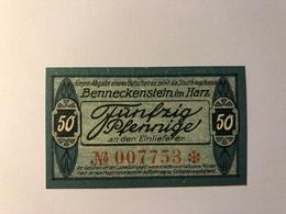 Allemagne Notgeld Benneckenstein 50 Pfennig - Collections