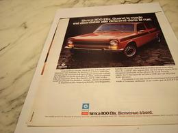 ANCIENNE PUBLICITE VOITURE  SIMCA 1100 ELIX   1975 - Cars