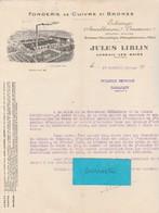 Facture 1934 / Jules LIBLIN / Fonderie Cuivre & Bronze / 70 Luxeuil - France