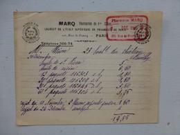 Paris, Marq Pharmacien, Facture Vers 1910 ? Cachet  ; PAP02 - France