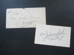 Österreich 1917 Sehr Kleiner Brief Mit Neujahrwunschkarte Rückseitig Nr. 219 Drucksachen Eilmarke MeF Senkr. Paar - Briefe U. Dokumente