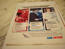 ANCIENNE PUBLICITE VOLS ROUGES BLEUS BLANCS  AIR INTER 1975 - Advertisements