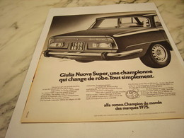 ANCIENNE PUBLICITE VOITURE   ALFA ROMEO GIULIA  1975 - Cars