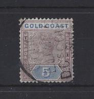 GOLD COAST....QUEEN VICTORIA.(1837-01)...5/-...SG22.., VFU.. - Côte D'Or (...-1957)