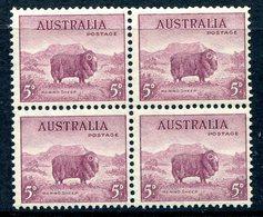 Australia 1937-49 KGVI Definitives (p.13½ X 14) - 5d Merino Lamb Block Of 4 MNH (SG 171) - 1937-52 George VI