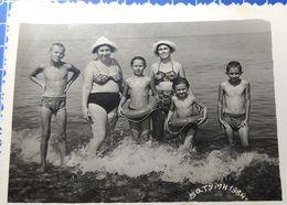 B&W Amateur Photo Mom Boy Beach Garcon Plage - Anonyme Personen