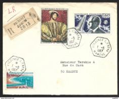 Manche-Enveloppe Recommandée Avec Cachet Hexagonal Valognes C.P. N°14 - Marcophilie (Lettres)