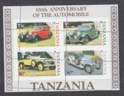 TANZANIA - 1986 -MOTORING CENTENARY  SOUVENIR SHEET SHOWING MISSPLACED PERFS MNH - Tansania (1964-...)