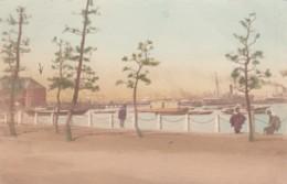Unknown Location Japan Port Harbor, Ship 'Hatatba' At Wharf, C1900s Vintage Postcard - Japan