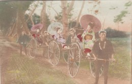 Men Pull Women In Rickshaw Carriages, Fashion Fancy Dress, Unknown Location Japan, C1900s Vintage Postcard - Unclassified