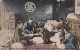 Silk Industry In Japan Sorting And Typing Skeins Of Silk, Corticelli Silk Advertisement, C1900s/10s Vintage Postcard - Unclassified