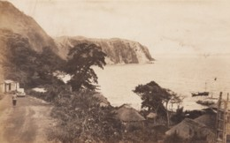 Izu Oshima Island Japan, View Of Town On Coast With Bay, Auto On Road, C1930s Vintage Real Photo Postcard - Japan