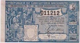 LOT-378 CUBA REPUBLICA 1910 SORTEO 32. LOTTERY LOTERIA. - Lottery Tickets
