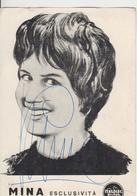 Mina Autografo Originale Nel Retro Elenco Delle Incisioni Cartoncino - Singers & Musicians