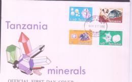 MINERALS  - TANZANIA - 1986 - MINERALS SET OF 4 ON ILLUSTRATED FDC - Minerals