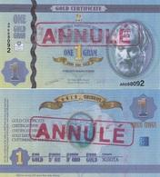 Cyprus AMP - 1 Gram Gold Certificate Annule UNC 2011 Lemberg-Zp - Cyprus