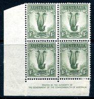 Australia 1937-49 KGVI Definitives (p.15 X 14) - 1/- Lyre Bird - Imprint Block Of 4 HM (SG 192) - Nuovi