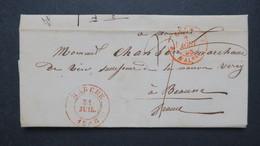 Belgique 1848 Lettre En Port Du De Marche Pour Beaune France Entrée Valenciennes Taxe Manuscrite Voir Scans - 1830-1849 (Onafhankelijk België)