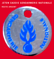 SUPERBE JETON De CADDIES : GENDARMERIE INFO RECRUTEMENT DIJON Argent Base Argent Création DIMO Besançon - Einkaufswagen-Chips (EKW)