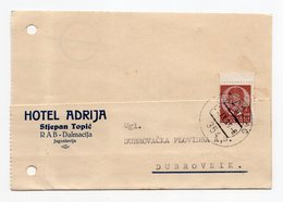 1939 YUGOSLAVIA, CROATIA, RAB TO DUBROVNIK, CORRESPONDENCE CARD, HOTEL ADRIJA - 1931-1941 Kingdom Of Yugoslavia