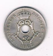 25 CENTIMES  1908 VL   BELGIE /4970/ - 1865-1909: Leopold II