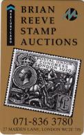 UK(GPT) - Stamp, Brian Reeve Stamp Auctions(071 836 3780)(MER051), Mercury Telecard, CN : 18MERD, Tirage 3500, Mint - Francobolli & Monete