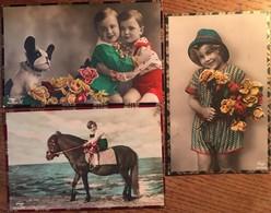 3 CPA, Fantaisie, édition AMAG, Enfants, Cheval, Chien, écrites En 1930 De Pernis, Pays-Bas, Timbres - Fantaisies