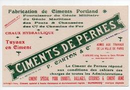 Buvard Ciments De Pernes: P. Carton & Cie, Ciment Portland, Fournisseur Du Genie Militaire, Bethune (19-1151) - Vloeipapier