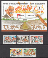 1996 Jersey Olympics Judo Basketball  Complete Set Of 5 + S/s MNH @ BELOW FACE VALUE - Jersey