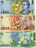 ROMANIA SET 1000 5000 1000 LEI 1998-1999 UNC P106-108 - Romania