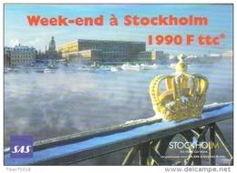 """Carte Postale édition """"Carte à Pub"""" - Week-end à Stockholm (Suède - Vol SAS - Compagnie D'aviation - Couronne) - Publicité"""