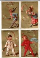 4 Cartes Réclame / Chromos Maison Franchomme & Cie Bruxelles - Bulles De Savon - Lith. Champenois & Cie - Fond Or - Autres