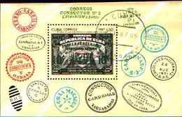 5540BIS ) CUBA -100 ANN. DELLE FERROVIE A CUBA -BF N.102-USATO - Blocchi & Foglietti