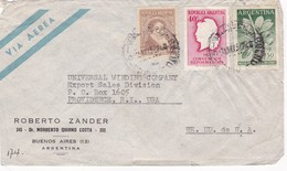1957 COMMERCIAL COVER AIRMAIL- ROBERTO ZANDER. CIRCULEE BUENOS AIRES TO USA - BLEUP - Argentine