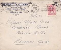 1948 COMMERCIAL COVER- VALENTI & LOZANO. CIRCULEE LA PLATA TO BUENOS AIRES, BANDELETA PARLANTE - BLEUP - Lettres & Documents