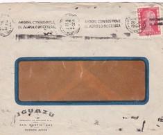 1952 COMMERCIAL COVER- IGUAZU. CIRCULEE, BANDELETA PARLANTE - BLEUP - Argentine