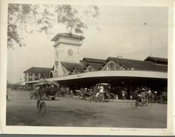 COCHINCHINE SAIGON LE GRAND MARCHE  INDO CHINE ASIA   24*18 CM Fonds Victor FORBIN 1864-1947 - Lugares